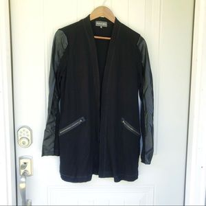NWOT Michael stars leather mix cardigan small